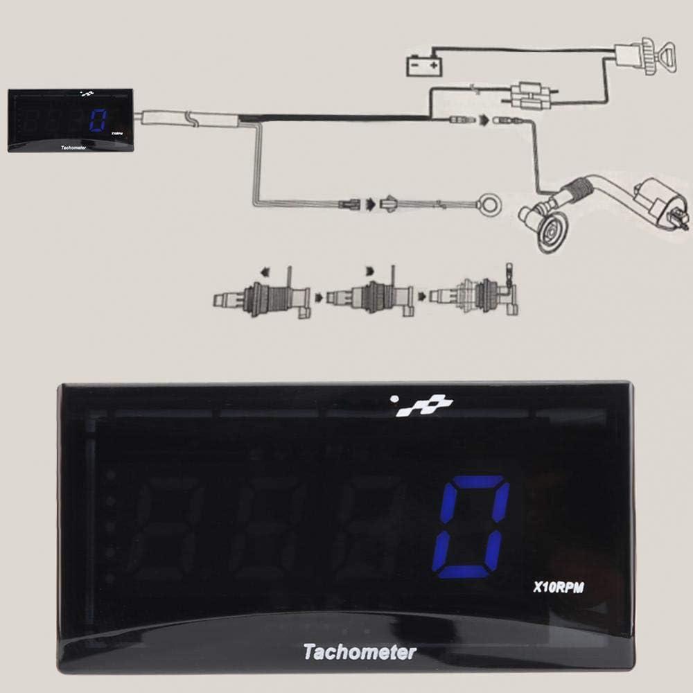 Motorrad LED Digital Tachometer Geschwindigkeitsmesser DC 8-18V Blau LED Blaue Hintergrundbeleuchtung f/ür Alle Motorr/äder Motorrad Drehzahlmesser