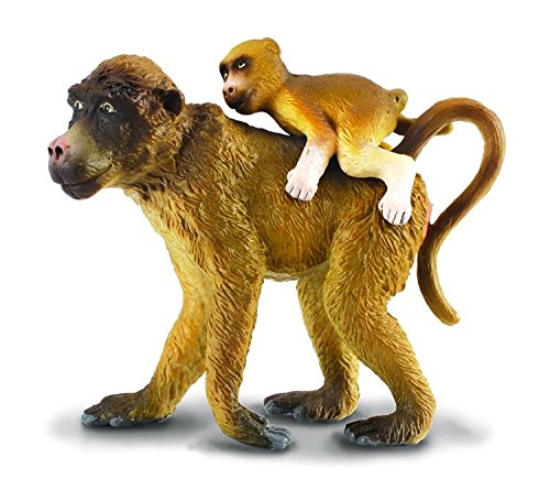CollectA Wildlife Baboon Female with Baby Toy Figure Authentic Hand Painted Primate Model