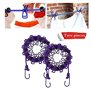 2 Packs Portable Travel Elastic Camping Clothesline Adjustable Clothes line 12pcs Retractable Clothespins Laundry Rope Outdoor and Indoor Travel Camping ( Purple )
