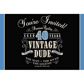 Creative Converting 8 Count Party Invitations Vintage Dude 40th Birthday