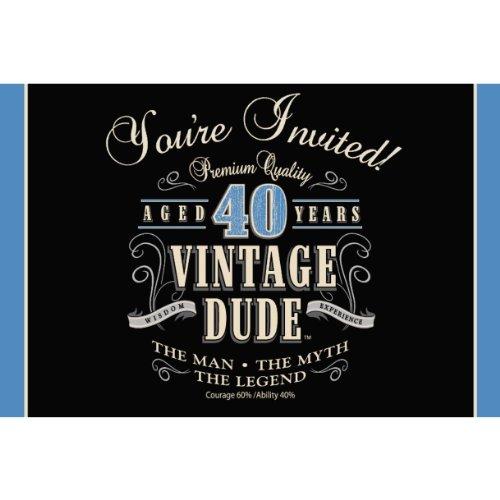 40th birthday invitations amazon 8 count party invitations vintage dude 40th birthday filmwisefo