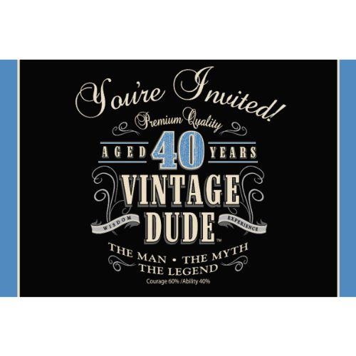 Creative Converting 8-Count Party Invitations, Vintage Dude 40th Birthday - 891467 -