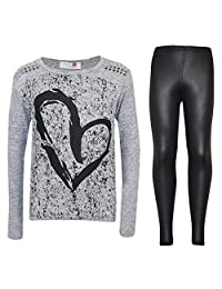 Kids Girls HEART Printed Trendy Top & Stylish Fashion Legging Set Age 7-13 Years