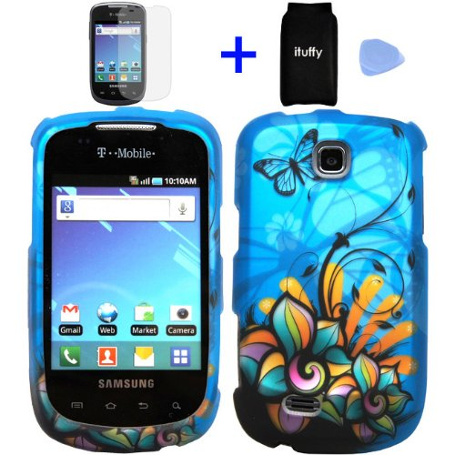(4 items Combo: Accessories Pouch, Screen Protector Film, Case Opener, Graphic Case) Blue Butterfly Orange Pink Green Color Daisy Flower Design Rubberized Snap on Hard Cover Protector Shell Faceplate Skin Case for T-Mobile Samsung Dart T499 / TASS T-499 ()