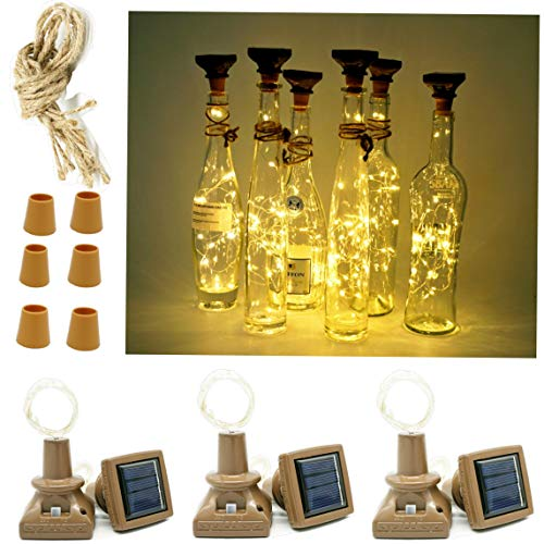 Solar Wine Bottle Cork Lights, 6 Pack 20LED Silver Copper Wire Mini Fairy String Starry Lights with Square Panel for DIY Party Christmas Halloween Wedding Outdoor Indoor Decoration (Warm White)