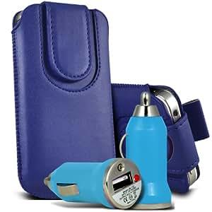 Nokia Lumia 920 premium protección PU botón magnético ficha de extracción Slip In Pouch Pocket Cordón piel cubierta de la cubierta del caso Rápido y Bullet Rápido Cargador USB para coche con carga de luz LED de color azul oscuro por Spyrox