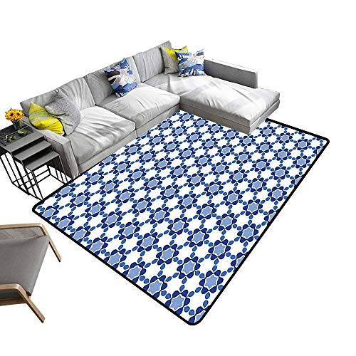 - alsohome Non-Slip Thicken Carpe Oriental Tile Mosaic Image Hexagonal Honeycomb Shaped White Turquoise and Dark Blue Reusable and Easy to Clean 2' X 4'