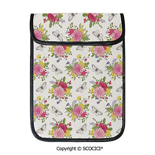 Butterfly Backpack Garden - SCOCICI Shockproof Tablet Sleeve Compatible 12.9 Inch iPad Pro Peonies Roses Sweet Peas Bell Colorful Bouquet Butterflies Botany Garden Tablet Protective Bag