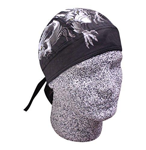 Danbanna Deluxe Black Grey Silver Dragon Lizard Head Wrap Cap Hat Sweatband