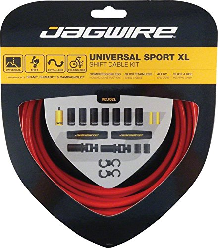 Brake Cable Campy (Jagwire Universal Sport Shift XL Cable Kit, Red)