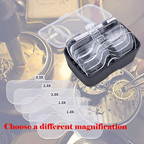 ANDSTON Hands Free Headband Magnifier Glasses, USB Charging Head Mount Magnifying Glass with 2 LED Lights for Jewelry Craft Watch Repair Hobby 5 Replaceable Lenses 1.0X 1.5X 2.0X 2.5X 3.5X