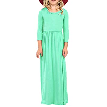 e4c972206527b 女の子 ワンピース Timsa 子供ドレス 女の子 キッズ ロングスカート 可愛い Aライン 長袖 洋服 無地 女児