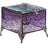 J Devlin Box 836 Amethyst Glass Box Decorative Vintage Keepsake Trinket Jewelry Box Gift