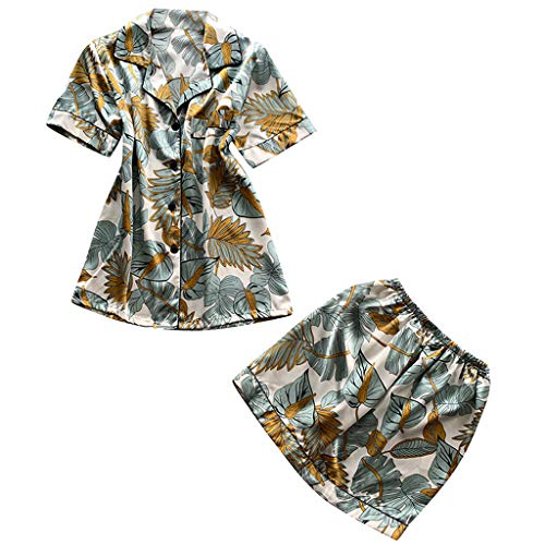 (Flexman Women's 2Pcs Silk Pajamas Short Sleeve Sleepwear Tops+ Shorts Lingerie Nightwear Underwear Homewear Set (Tibetan Green Rose, L))