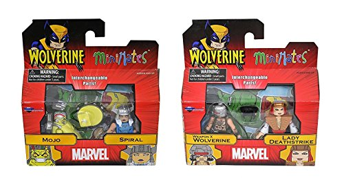 Marvel Minimates Series 72 Wolverine BUNDLE set of Two 2-packs: Weapon X, Lady Deathstrike, Mojo & Spiral Mini Figures