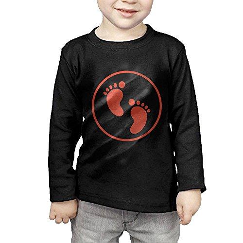 Nquqiyilu Boys' Footprints by Chapter Leisure Travel Black T Shirt 5-6 Toddler Long Sleeve ()