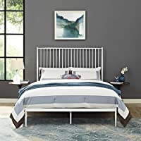 Modway Annika Powder-Coated Steel Queen Size Platform Bed in White