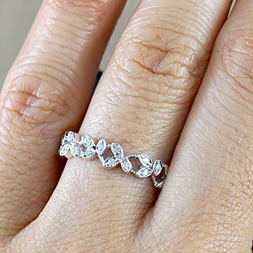 Slendima Exquisite Hollow Leaf Design Women Fashion Rhinestone Jewelry Engagement Wedding Ring Silver US 6 by Slendima (Image #3)