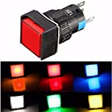 DC 12V 16mm Push Button Self-Reset Switch Square LED Light Momentary Switch