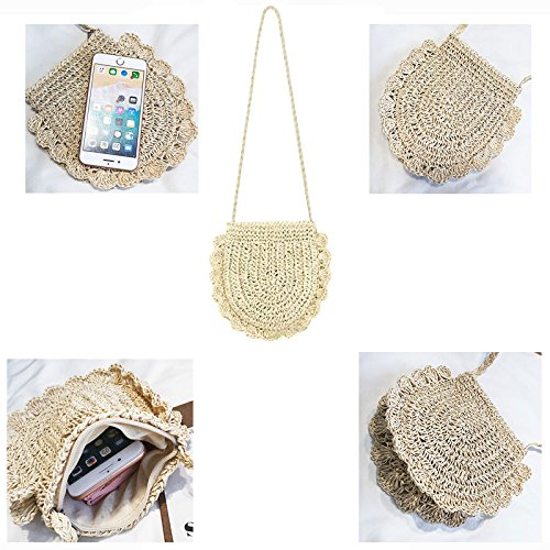 Donalworld Women Beach Bag Round Straw Crochet Shoulder Summer Bag Purse S Shlcf by Donalworld (Image #5)