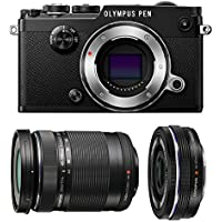 Olympus PEN-F Mirrorless Micro Four Thirds Digital Camera with Olympus M.Zuiko Digital ED 14-42mm f/3.5-5.6 EZ & 40-150mm f/4.0-5.6 R Lenses (Black)