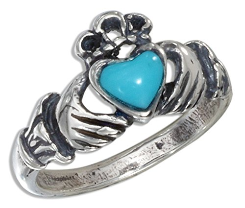Sterling Silver Small Antiqued Claddagh Ring with Reconstituted Turquoise Heart (size 06) (Ring Silver Claddagh Antiqued Sterling)