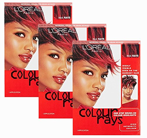 L'oreal Paris Colour Rays Hair Color, Red Rays (Pack of 3) (Color Rays Hair Dye)