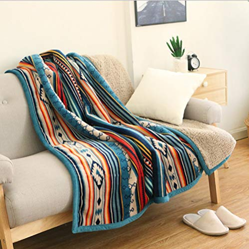 - Ukeler Flannel Sherpa Throw 50'' x 60''- Bohemian Soft Plush Flannel Blanket Throws for Bed/Couch/Sofa/Office/Camping