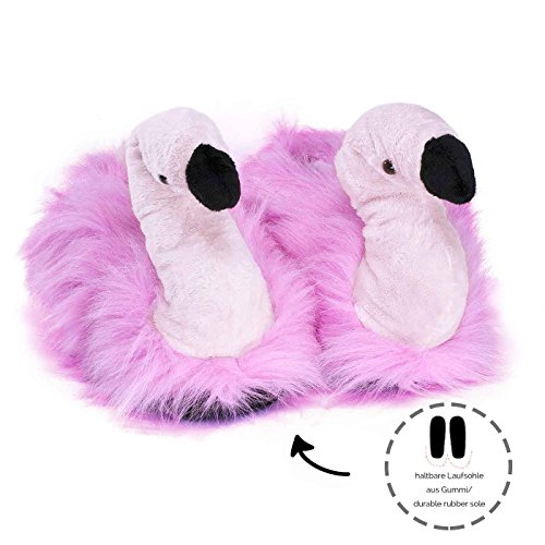 Animal Funslippers and harmful and Sole For Flamingo For With Novelty Plush Slippers substances Children Adults Pink Tested Certified Rubber r5rPqw