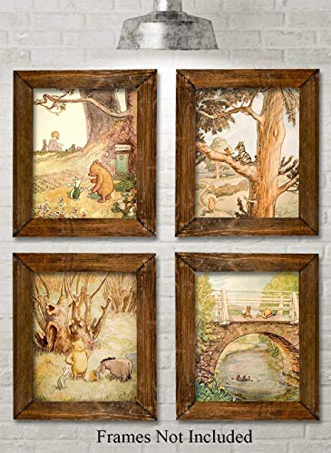 (Winnie the Pooh Bear - Set of Four Photos (8x10) Unframed - Makes a Great Gift Under $20 for Disney Fans and Kid's Room Decor )