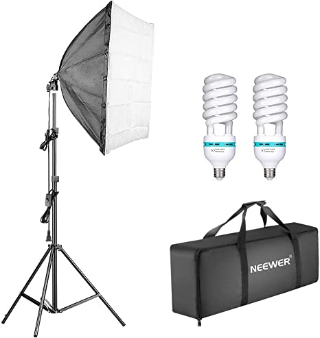 Neewer 1350W Kit de iluminación de caja de luz continua para fotografía, 24 x 24 pulgadas,