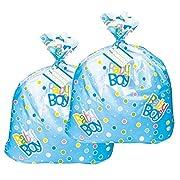 Jumbo Plastic Blue Polka Dot Boy Baby Shower Gift Bags (2)