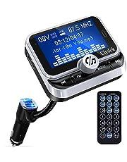 Bluetooth FM Transmitter Auto, Clydek Car Charger Adapter mit 1,8-Zoll-Display und Fernbedienung, 4 Musikwiedergabemodi, QC3.0-Schnellladegerät, Freisprechfunktion, AUX-Eingang und -Ausgang