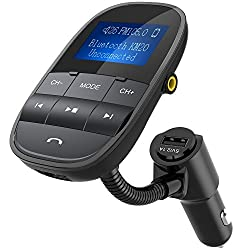 Tecboss Bluetooth Fm Transmitter New 2017 Model W Sleep Power Off Shuffle Function, Big Screen Wireless Hands-free Car Kit Play Usb Flash Drive Tf Card W Aux In Out, Black
