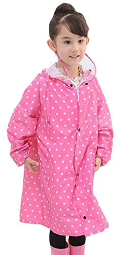 (DauStage)子供用レインコート水玉柄透明フード付きレインウェア2色4サイズ雨合羽雨具(02,ピンク M)
