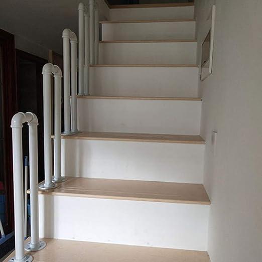 Barandilla de Escalera de Hierro Forjado Blanco, Tubo Galvanizado en Forma de U, Kit de Instalación Montado en el Piso, Riel de Seguridad para Cercas Interiores y Exteriores: Amazon.es: Hogar