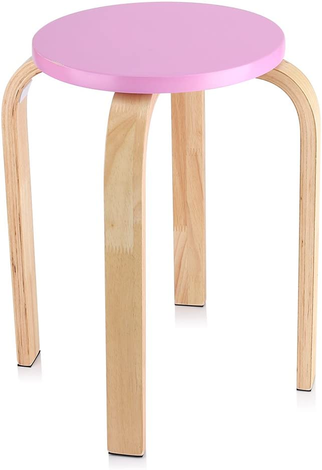 Blue Natural Bent Wood Stool Candy Color Chair Stacking Stool with 4 Legs and Anti-Slip Mat Wooden Round Stool 15.75 x 17.9 inch