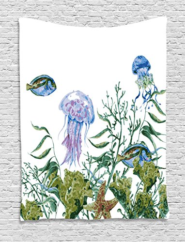 Ambesonne Ocean Tapestry, Watercolor Style Effect Sea Life Pattern with Seaweed Jellyfish and Fish, Wall Hanging for Bedroom Living Room Dorm, 40 W x 60 L Inches, Reseda Green Jade Green - Green Jade Fish
