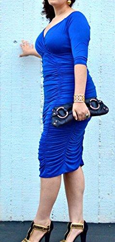 Increspato A Con Blu V Scollo Abiti Classica Cromoncent Womens Midi Solido Impero Vita xH4zIgU