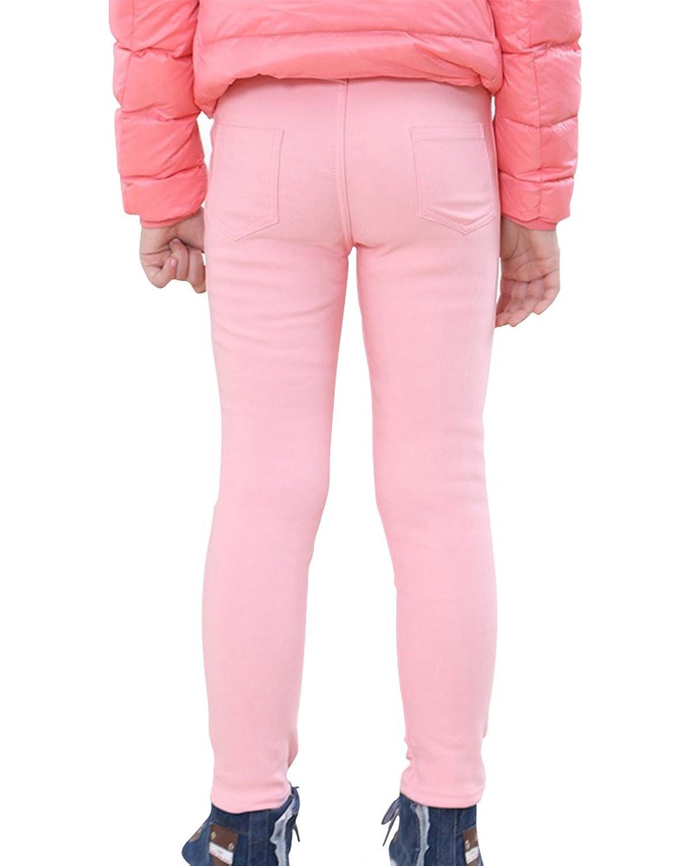 Niña Leggings Cintura Alta Pantalones De Lápiz Plus Espesamiento Elástica Jeggings Leggins Pink 100