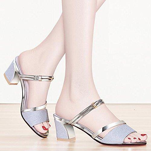MEIDUO sandalias Sandalias Zapatos de mujer Summer Club Shoes Chunky Heel Rhinestone para fiesta informal de fiesta y noche cómodo La Plata