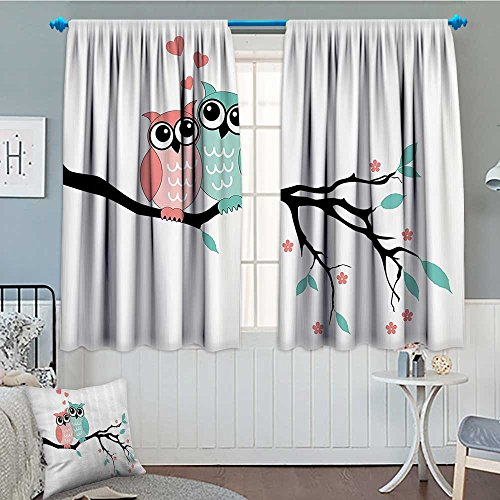 SeptSonne-Home Teal and White Thermal Insulating Blackout Curtain Cute Owl Couple Sitting on Tree Branch Valentines Romance Love Patterned Drape for Glass Door 52