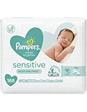 Baby Wipes, Pampers Sensitive UNSCENTED 3X Pop-Top, Hypoallergenic and Dermatologist-Tested, 168 Count (Packaging May Vary)
