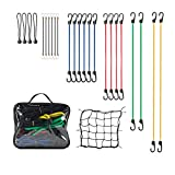 "24PCS Bungee Cords Assortment, Include 2 x 40"", 2 x 32"", 4 x 24"", 6 x 18"", 6 x 10"" & 4 x 8"" and 1 Cargo Net"