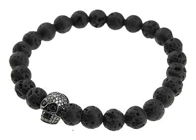 8e5c7e4e775d Styles Plus Hombre Pulsera bola pulsera elástico flexible Used Look Lava  Piedra con calavera en negro SP de a de 518 - 3  Amazon.es  Joyería