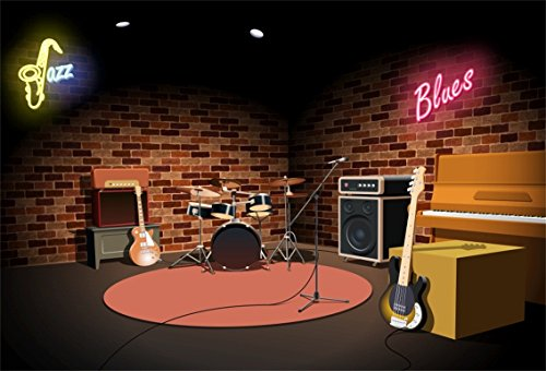 CSFOTO 7x5ft Background for Rock and Roll Jazz Blues Music Club Stage Photography Backdrop Music Band Instrument Concert Greeting Party Performing Equipment Photo Studio Props Polyester Wallpaper]()
