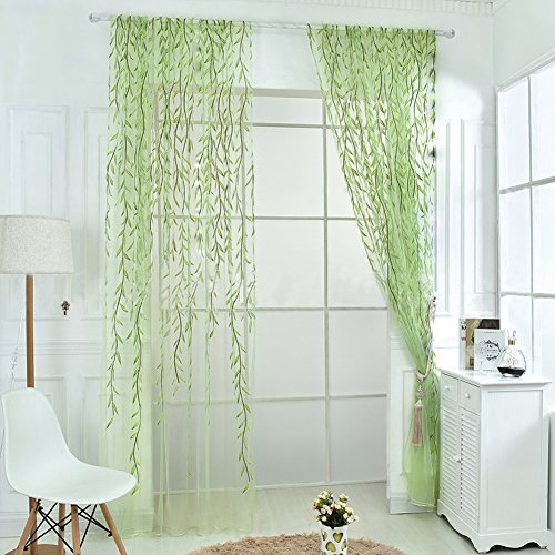 Rely2016 2 Pieces Green Color Willow Voile Tulle Room Window Curtain Salix Leaf Sheer Voile Panel Drapes Curtain (100 x 270cm) (Sunroom Curtains)
