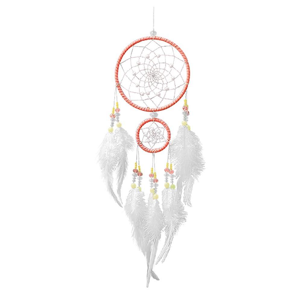 Attrape Rêves Indien Capteur de Rêves Plume Naturel Vintage Dream Catcher Fait à la Main Mural Voiture Décoration pour Fille Enfant – Blanc Rose Langde