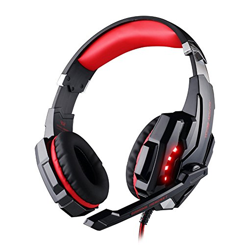 Cywulin Stereo Gaming Headset LED Light USB Headphones Noise Cancelling Soft Ear Pad Bass Surround Memory Earmuffs with Mic for Computer PC, Laptop, PS4, Xbox One, Mobile Phone, iPad, Mp3, Mp4 (Red)