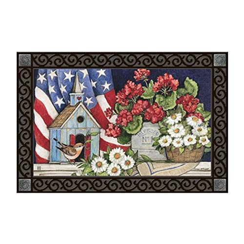 Studio M MatMates Patriotic Birdhouse Spring Summer Floral Decorative Floor Mat Indoor or Outdoor Doormat with Eco-Friendly Recycled Rubber Backing, 18 x 30 Inches